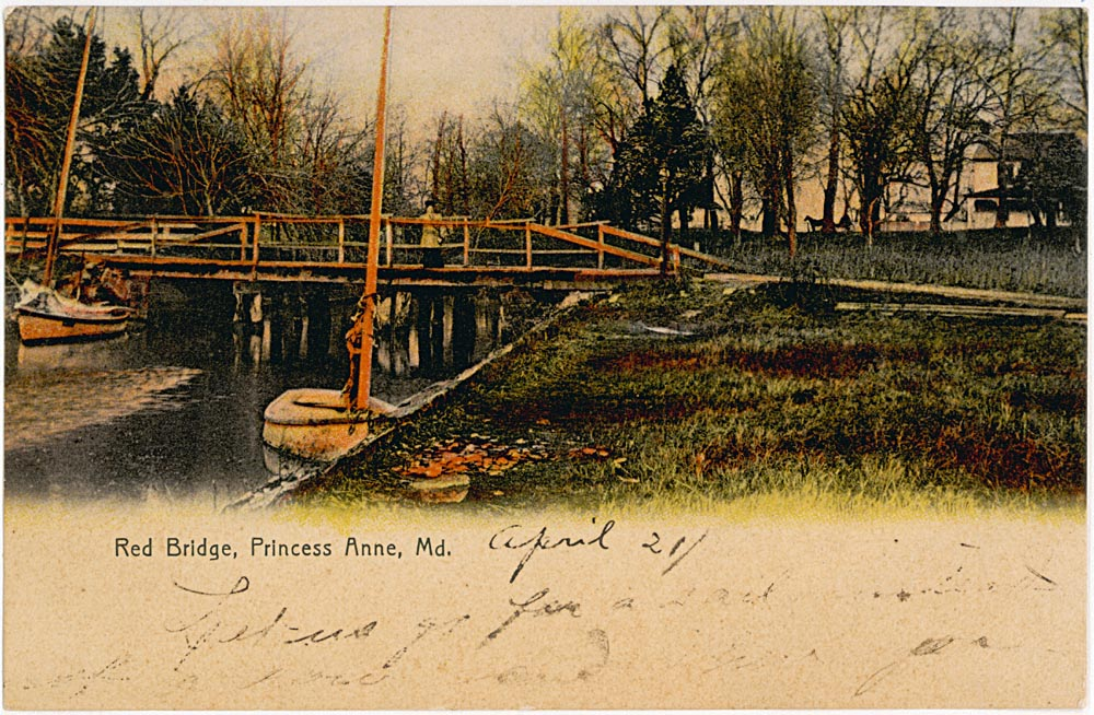 Front Side of Post Card, Red Bridge, Manokin River